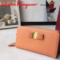 Ferragamo 22B874 專櫃最新款淑女風橙色原版皮長款拉鏈錢包