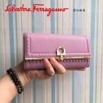 Ferragamo 22C348-2 復古民族風波西米亞風格粉紫色原版皮搭扣長款錢包