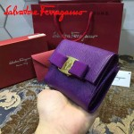 Ferragamo KB-22A926-9 名媛必備新款紫色原版皮短款兩折錢包