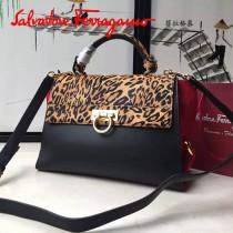 Ferragamo 21FD570 專櫃最新設計Sofia豹紋拼色原版皮手提單肩包