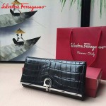 Ferragamo KB-224639 時尚爆款原版進口牛皮鱷魚紋大號法式錢包
