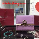 Ferragamo 22C373-2 專櫃最新款民族風櫻花粉原版皮短款兩折錢包