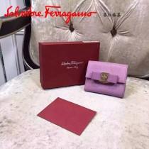 Ferragamo KB-22A926 名媛必備新款粉色原版皮短款兩折錢包