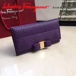 Ferragamo 22C403-3 專櫃最新款女士紫色原版水波紋搭扣長款錢包