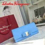 Ferragamo 22B559-9 時尚新款女士淺藍色原版皮搭扣法式長款錢包