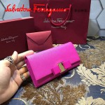 Ferragamo 22B559-7 時尚新款女士玫紅色原版皮搭扣法式長款錢包
