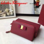 Ferragamo 22B874-2 專櫃最新款淑女風紅色原版皮長款拉鏈錢包
