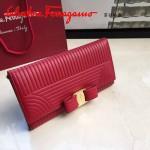 Ferragamo 22C403-4 專櫃最新款女士紅色原版水波紋搭扣長款錢包
