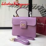 Ferragamo 21E484-4 專櫃最新款復古粉色原版皮手提斜挎包