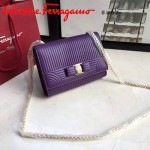 Ferragamo 21F495-4 專櫃同步最新款紫色原版水波紋中號單肩斜挎包