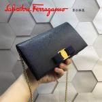 Ferragamo 22B875-11 時尚潮流新款黑色原版皮單肩斜挎包晚宴包