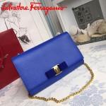 Ferragamo 22B558-7 專櫃最新款女士藍色原版皮單肩斜挎包晚宴包