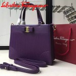 Ferragamo 21F490-3 時尚新款復古紫色原版水波紋手提單肩包