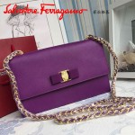 Ferragamo 21E480-6 人氣熱銷淑女風紫色原版皮鏈條單肩斜挎包翻蓋包