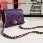 Ferragamo 21F492-4 專櫃獨家定制紫色原版水波紋迷你單肩斜挎包