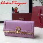 Ferragamo 22C351-3 專櫃最新款女士紫粉色原版皮搭配民族風裝飾中長款兩折錢包