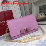 Ferragamo 22B558-5 專櫃最新款女士粉紫色原版皮單肩斜挎包晚宴包