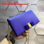 Ferragamo 22B875-6 時尚潮流新款紫藍色原版皮單肩斜挎包晚宴包