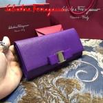 Ferragamo 22B559-5 時尚新款女士紫色原版皮搭扣法式長款錢包