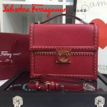 Ferragamo 21F329-4 專櫃最新款波西米亞風格紅色原版皮大號手提單肩包