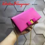 Ferragamo 22B875-5 時尚潮流新款玫紅色原版皮單肩斜挎包晚宴包