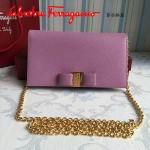 Ferragamo 22B875-7 時尚潮流新款粉色原版皮單肩斜挎包晚宴包