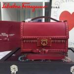 Ferragamo 21F374-4 秋冬季專櫃同步波西米亞風格紅色原版皮中號手提單肩包