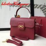 Ferragamo 21E484-2 專櫃最新款復古紅色原版皮手提斜挎包