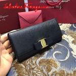 Ferragamo 22B559-10 時尚新款女士黑色原版皮搭扣法式長款錢包