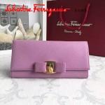 Ferragamo 22B559-8 時尚新款女士粉色原版皮搭扣法式長款錢包