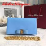 Ferragamo 22B875-8 時尚潮流新款淺藍色原版皮單肩斜挎包晚宴包
