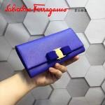 Ferragamo 22B559-6 時尚新款女士紫藍色原版皮搭扣法式長款錢包