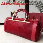 Ferragamo 21E926-2 專櫃最新款Micole Nero系列原單紅色牛皮配馬毛手提包圓筒包