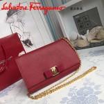 Ferragamo 22B558-6 專櫃最新款女士紅色原版皮單肩斜挎包晚宴包