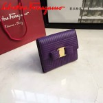 Ferragamo 22C406-3 潮流新款女士紫色原版水波紋搭扣短款錢包