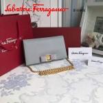Ferragamo 22B875-9 時尚潮流新款灰色原版皮單肩斜挎包晚宴包