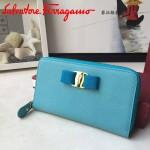 Ferragamo 22B874-4 專櫃最新款淑女風天藍色原版皮長款拉鏈錢包