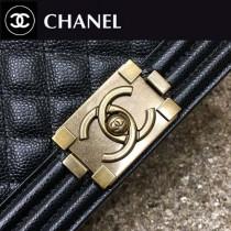 CHANEL A67086-47 時尚經典款LEBOY黑色原版魚子醬皮金扣單肩斜挎包