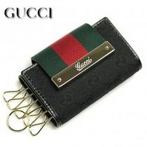 GUCCI 181673 時尚經典紅綠織帶搭配三折鑰匙包