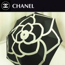 CHANEL 高貴時尚今夏暢銷款黑色山茶花全自動防紫外線折疊遮陽傘