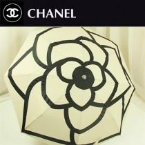 CHANEL 高貴時尚今夏暢銷款白色山茶花全自動防紫外線折疊遮陽傘
