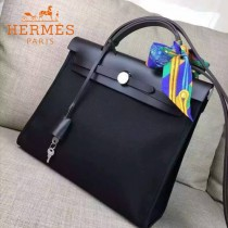 HERMES-00048-014 專櫃潮流最新款HERBAG原版牛皮配帆布手提單肩包