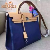 HERMES-00048 專櫃潮流最新款HERBAG原版牛皮配帆布手提單肩包