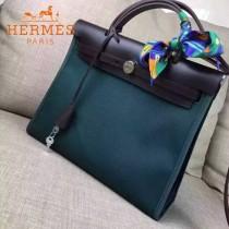 HERMES-00048-01 專櫃潮流最新款HERBAG原版牛皮配帆布手提單肩包