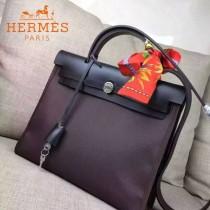 HERMES-00048-013 專櫃潮流最新款HERBAG原版牛皮配帆布手提單肩包