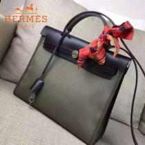 HERMES-00048-016 專櫃潮流最新款HERBAG原版牛皮配帆布手提單肩包