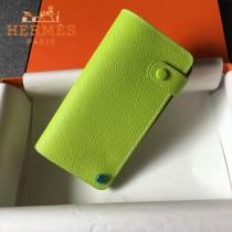 HERMES-00046 時尚新款蘋果綠原版epsom牛皮搭扣多卡位卡包卡片夾
