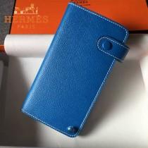 HERMES-00046-5 時尚新款藍色原版epsom牛皮搭扣多卡位卡包卡片夾