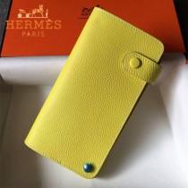 HERMES-00046-2 時尚新款檸檬黃原版epsom牛皮搭扣多卡位卡包卡片夾
