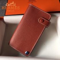 HERMES-00046-6 時尚新款磚紅色原版epsom牛皮搭扣多卡位卡包卡片夾